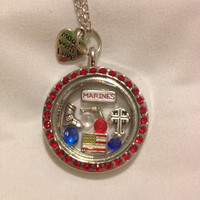 USMC Marine Corps Girlfriend Fiancé Wife Mom Mother Family Grandma Floating Charm Memory Locket