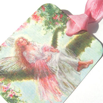 Spring Fairy Gift Tags Set of 6 Vintage Inspired Green And Pink