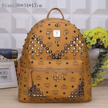 PEAPUF3 MCM Fashion Sport Laptop Bag Shoulder School Bag Backpack Brown G-YJBD-2H