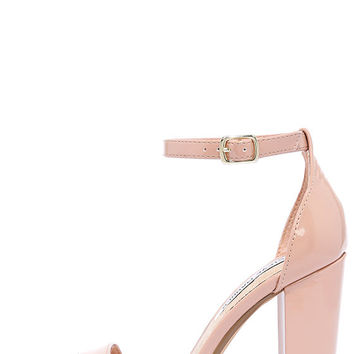 Steve Madden Carrson Blush Patent Ankle Strap Heels