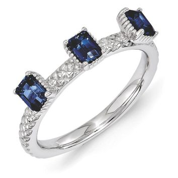 Sterling Silver Stackable Created Sapphire Octagon 3 Stone Ring