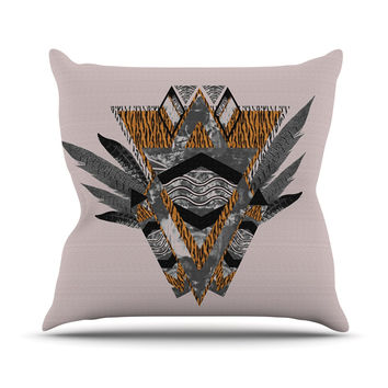 "Vasare Nar ""Indian Feather"" Orange Gray Throw Pillow"