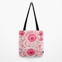 Flowery Pink and White Tote Bag by Jennifer Warmuth Art And Design