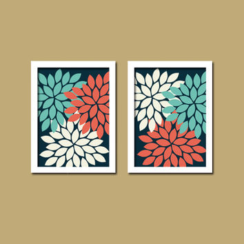 Bold Colorful Navy White Coral Aqua Floral Flower Burst Set of 2 Prints Wall Decor Abstract Art Bedroom Bathroom Nursery Picture Crib