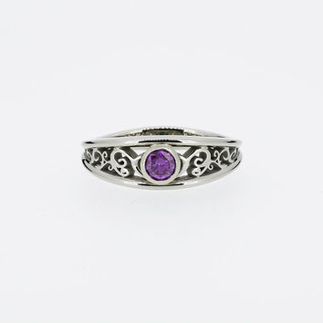 Amethyst filigree engagement ring, white gold ring, bezel, purple engagement, amethyst wedding ring, vintage style, unique, rose gold