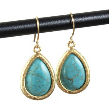 Stone Drop Earrings Turquoise