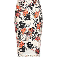 Pink floral print pencil skirt - tube / pencil skirts - skirts - women