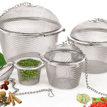 Brand New Home Appliance Practical Tea Ball Spice Strainer Mesh Filter Stainless Steel Infuser S M L Size Free Shipping