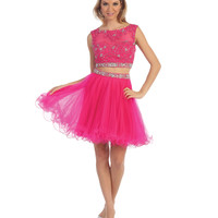 Fuchsia Beaded Lace Applique Two Piece Dress 2015 Homecoming Dresses