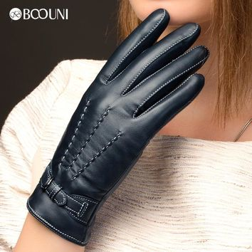 BOOUNI Genuine Leather Gloves Fashion Women Sheepskin Glove Autumn Winter Thermal Velvet Lining Driving Gloves NW707