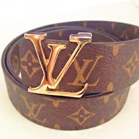 Supreme & LV  Woman Fashion Smooth Buckle Belt Leisure Women Men Leather Belt