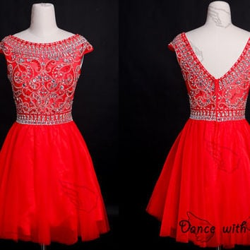 Red Beading prom dresses,prom dress,short prom dress,bridesmaid dresses,evening dresses,bridesmaid dress,evening dress