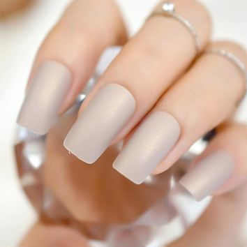 Gorgeous Cream False Nails Long Iridescent Matte Fake Nails Frost Art Design DIY Full Free Artificial False Nails 24