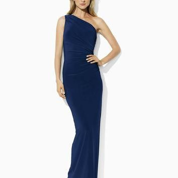 Lauren Ralph Lauren One-Shoulder Evening Gown