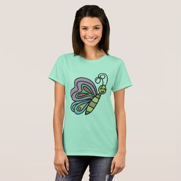 Women's Tee Shirt With Colorful Butterfly