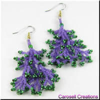 Coral Beadwork Dangle Seed Bead Earrings in Purple and Green