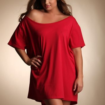 Plus Size Lingerie | Plus Size Sleepwear & Lounge | Wide Neck Oversized Shirt | Hips & Curves