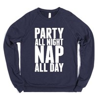 Party All Night Nap All Day-Unisex Navy Sweatshirt