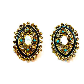 Vintage Florenza Earrings, Victorian Revival, Clip On, Black Enamel, Moonstone Cabochon, Brushed, Gold Tone, Filigree, Vintage 1970s, Signed