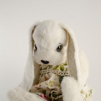White Christmas Rabbit Soft Toy Teddy Bear Bunny Viscose Gift idea ooak