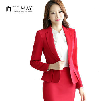 JLI MAY Spandex Spring Solid long Sleeve Office ladies blazers Black gray red Plus size slim fit Single Button women suits XXXXL