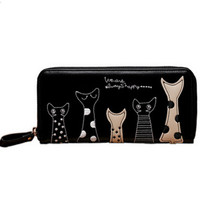 Women Wallet New Fashion Ladies Cute Cartoon Cat PU Wallet Coin Purses  Girl Holders Long Wallet Clutch Money Bags LL1448