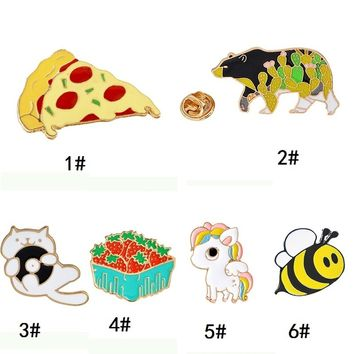 Cartoon Cute Cat Bear Bee Unicorn Pizza,strawberry Metal Brooch Pins Hard Enamel Pins for Coat Jacket Bag Pin Badge Jewelry Lape