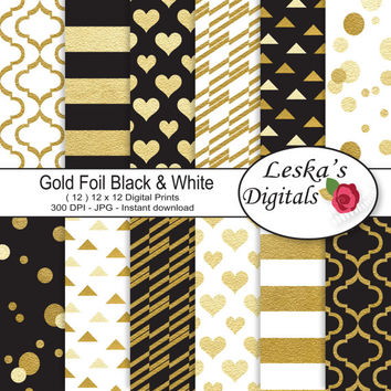 Gold foil digital paper - Gold Black and White digital scrapbook paper - Gold foil background pattern