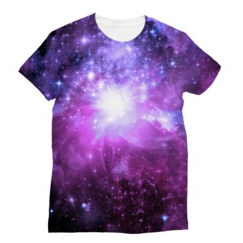 Bright Purple Starry Sky Subli Sublimation T-Shirt