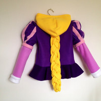 Disney Princess Tangled Inspired Rapunzel Fleece Girls hoodie shirt (Child sizes)