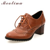 Meotina Shoes Women Thick Heels Causal Shoes Lace Up Pumps Vintage Mid Heels Carved Shoes Female 2017 Brown Black Big Size 42 43