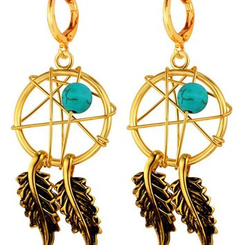 Hot Yellow gold Indian Tassel Feather Earrings