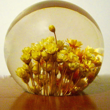 Vintage Round Paperweight  Yellow Flowers Mid Century Lucite Desktop Collectible