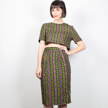 Vintage 80s Crop Top Pencil Skirt Set Matching Outfit Two Piece Matching Set Cropped Shirt Boho Midi Skirt Green Gold Ikat Print M Medium