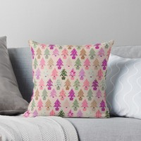 'Christmas tree pattern' Throw Pillow by ValentinaHramov