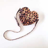 Leopard Print Heart Faux Leather Crossbody Bag (Ready to ship)