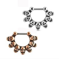 SaYao 1 Piece Punk Skull Hoop Nose Ring Stud clicker Skulls Piercing Septum Clickers Nose Stud Rings Body Piercing Jewelry