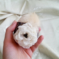 Unusual easter egg ornament, linen cord, hand made silk flower, dyed feather, easter decoration natural rustic decor