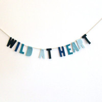 Wild at Heart Blue fade felt party banner wall hanging