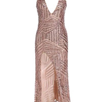 Pink V-Neck Cut Out Back and Side Split Sleeveless Sequined  Maxi Dress