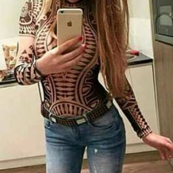 Tribal Printed Long Sleeve Bodysuit