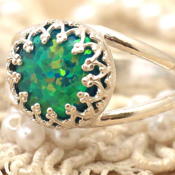 Opal Emerald Ring green Opal Ring Silver Opal Ring gift for woman Silver Mint Opal Ring Bridesmaids gift,Opal jewelry,Opal jewelry,Opal Ring