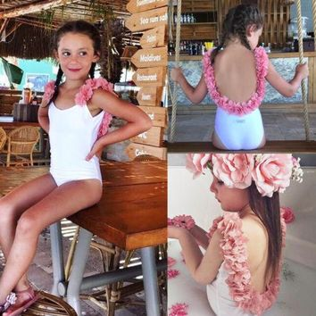 Newborn Kids Baby Girls 3D Floral Backless Solid Swimwear Tops Swimsuits One-Piece Suits Beachwear Outfit