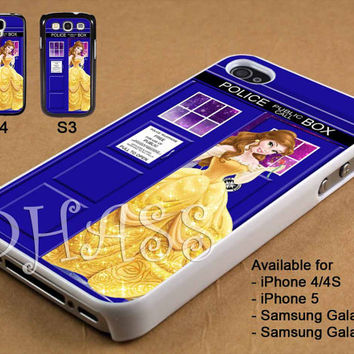 Belle Disney Tardis Police Box Galaxy Design for iPhone 4/4s/5 Case, Samsung Galaxy S3/S4 Case
