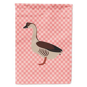 Chinese Goose Pink Check Flag Garden Size