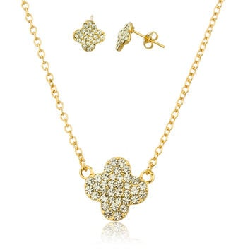 Two Year Warranty Gold Overlay Multiple Cz Stone Four Leaf Clover Pendant with an 18 Inch Necklace and Matching Earrings Set