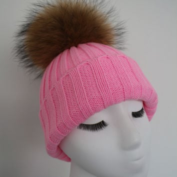 Luminous Pink Raccoon Fur Pom Pom Hat