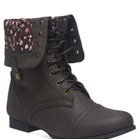 Floral Foldover Combat Boots - Wide Width | Wet Seal+