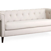 "Alexia 77"" Tufted Linen Sofa, Cream, Sofas & Loveseats"