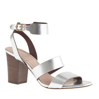 J.Crew Womens Aubrey Mirror Metallic Midheel Sandals